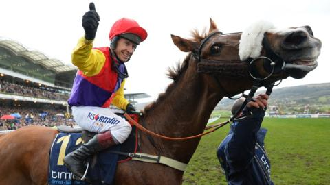 Richard Johnson celebrates after winning the Gold Cup on Native River