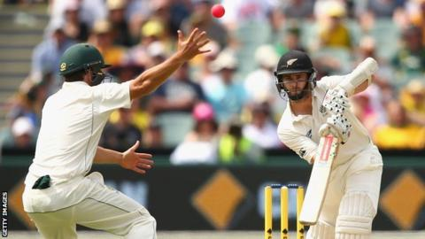 New Zealand batsman Kane Williamson defends the pink ball