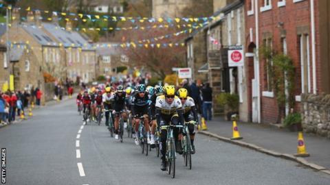 Cyclists during the Tour de Yorkshire
