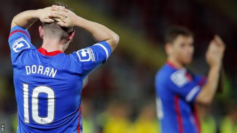 Caley Thistle's Aaron Doran shows his disappointment