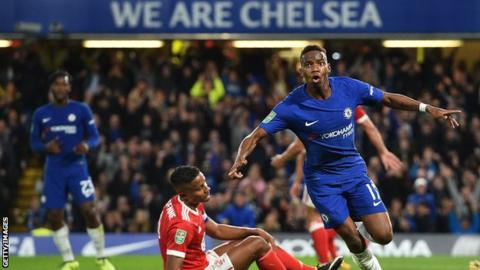 Chelsea's Charly Musonda celebrates scoring his first goal for the club