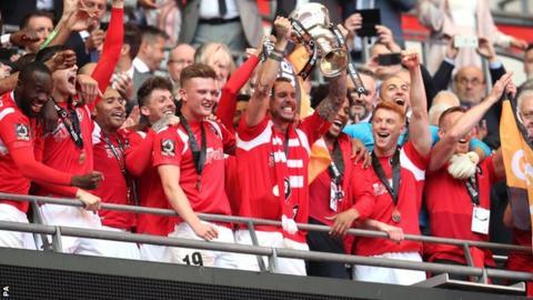 Salford City celebrate promotion
