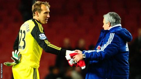 Mark Schwarzer and Jose Mourinho