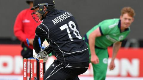 New Zealand's Corey Anderson is dismissed by Irish bowler Craig Young