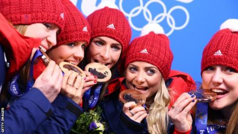 Eve Muirhead's rink with their bronze medals from Sochi 2014