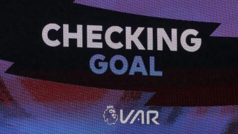 Rugby A screen announcing VAR decision
