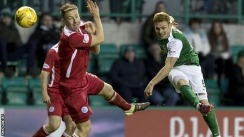 Hibernian will be without the injured Fraser Fyvie at Tannadice
