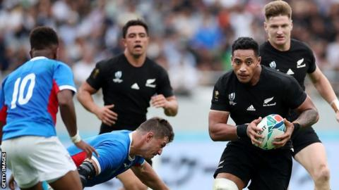 New Zealand 71-9 Namibia: All Blacks win to go top of Rugby World Cup Pool B