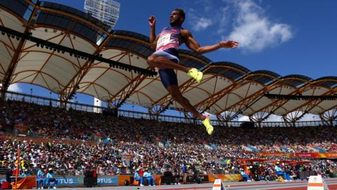Tyrone Smith of Bermuda competes in the men's long jump qualification during the athletics on day six of the Gold Coast 2018 Commonwealth Games at Carrara Stadium