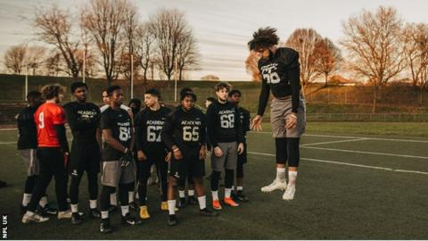 NFL Academy students in training