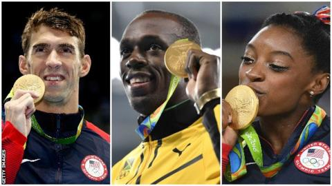 Michael Phelps, Usain Bolt and Simone Biles