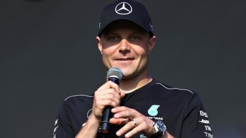 Valtteri Bottas addresses an audience