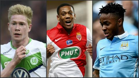 Kevin De Bruyne, Anthony Martial and Raheem Sterling