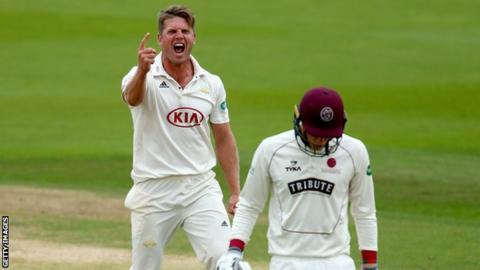 Stuart Meaker celebrates wicket