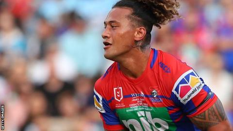 James Gavet in action for Newcastle Knights