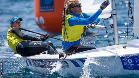 Hannah Mills and Saskia Clark racing in France