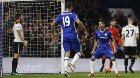 Pedro (Chelsea player on right) and Diego Costa celebrate Victor Moses' goal