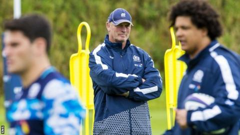 Scotland coach Vern Cotter watches over his players in training