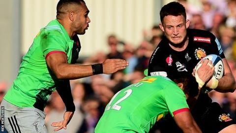 Jonny Hill scored Exeter's only try against Quins