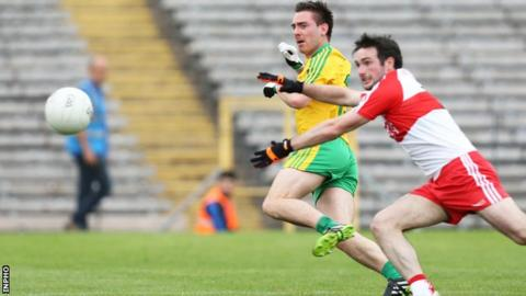 Donegal's Marty O'Reilly fires in the only goal of the semi-final