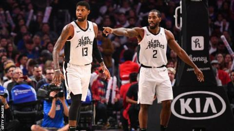 Kawhi Leonard and Paul George break scoring records in LA Clippers win