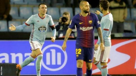 Celta vigo 2 2 barcelona bbc sport aspas has scored five goals in as many games against barcelona in the league publicscrutiny Images