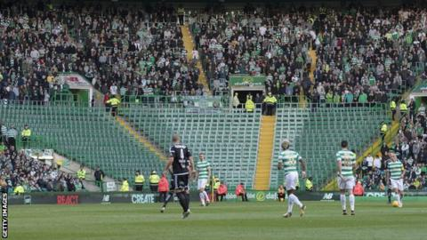 The Green Brigade section was empty for Wednesday's 0-0 draw with Rosenborg