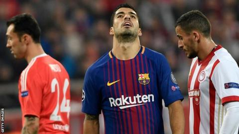 Luis Suarez has not scored a goal in the Champions League this season