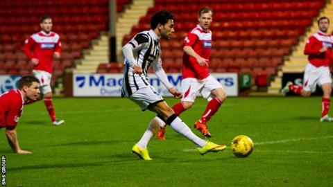 Dunfermlinea€™s Fayssal El-Bakhtaoui knocks in the opening goal at East End Park