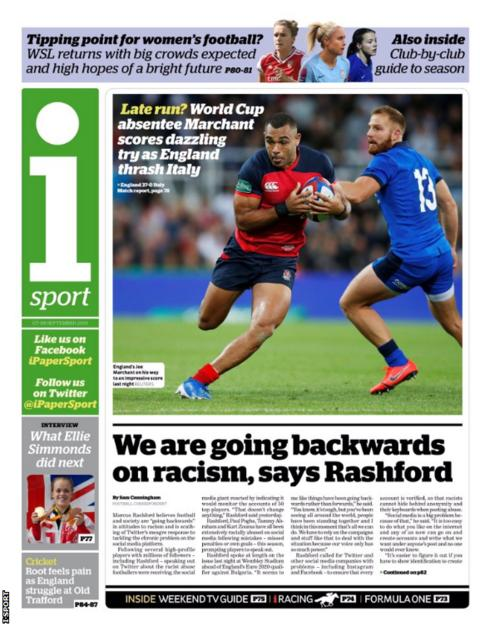 Saturday's I Sport back page