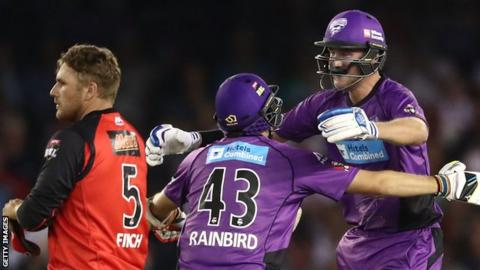 Stuart Broad (right) celebrates following a dramatic win for Hobart Hurricanes