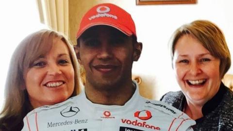 """Maria Calderbank: """"I took Lewis to an interview for Buisness Women of the Year. I had a set time to talk so thought I would save a few hours by taking him with me and showing my passion not only for the man himself but of the sport too"""""""