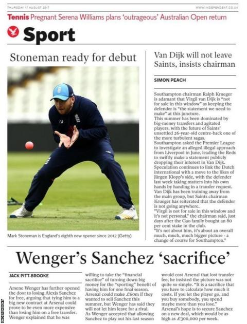 Thursday's Independent Sport