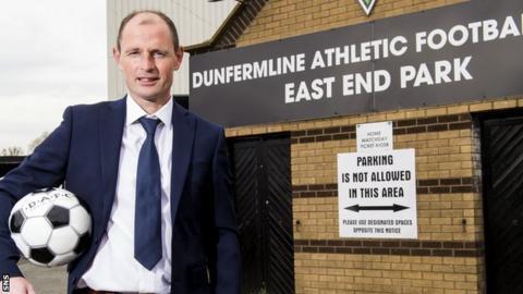 New Dunfermline manager Allan Johnston arrives at East End Park