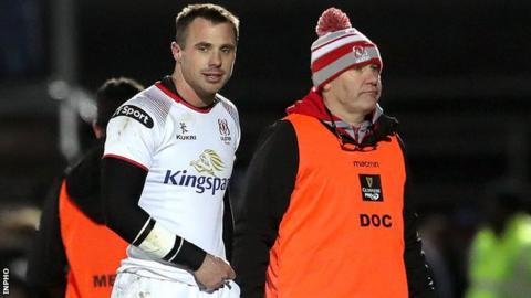Tommy Bowe comes off after receiving treatment in Ulster's hammering by Leinster