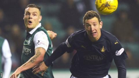 Hibs' Anthony Stokes and Falkirk's Aaron Muirhead challenge for the ball
