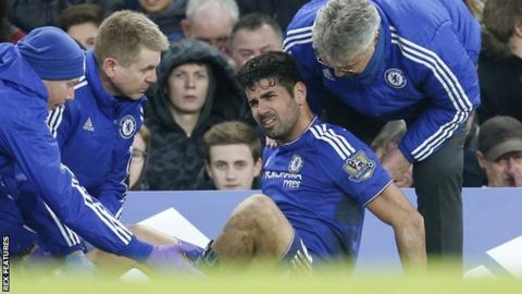 Chelsea striker Diego Costa receives treatment during his side's draw with Everton
