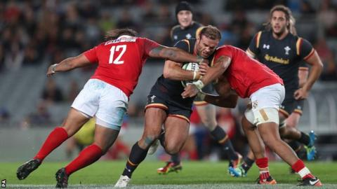 Centre Jamie Roberts led Wales from the front against Tonga