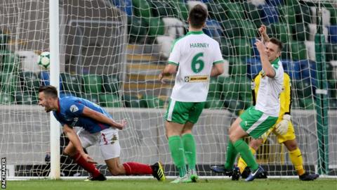 Andrew Waterworth's goal made it 2-0 to Linfield against Cliftonville
