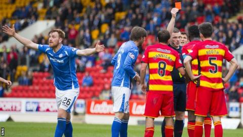 Partick Thistle's Abdul Osman is sent off as Liam Craig appeals for a penalty