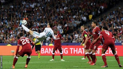 Gareth Bale won his third Champions League title with Real Madrid after scoring with a spectacular overhead kick against Liverpool in the 20178 final