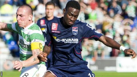 Benedict Frempah playing against Celtic
