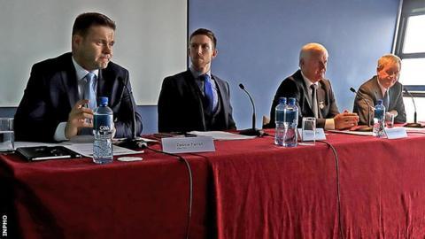 GPA president Dessie Farrell (left) alongside GPA chairman Seamus Hickey, GAA president Aogan O Fearghail and GAA director general Paraic Duffy