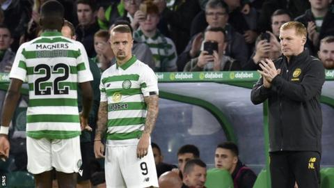 Celtic manager Neil Lennon sends on Leigh Griffiths as a substitute