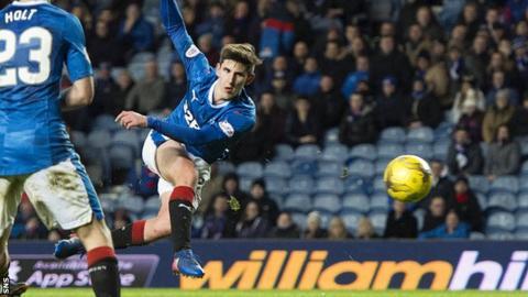 Emerson Hyndman scores a goal for Rangers
