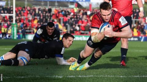 Rory Scannell goes over for try in Munster's victory over Castres n Limerick