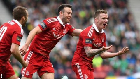 Aberdeen players celebrate a goal