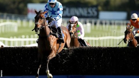 God's Own clears the final fence before going on to win the Champion Chase by two lengths