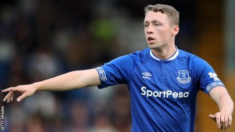 Matthew Pennington in action for Everton