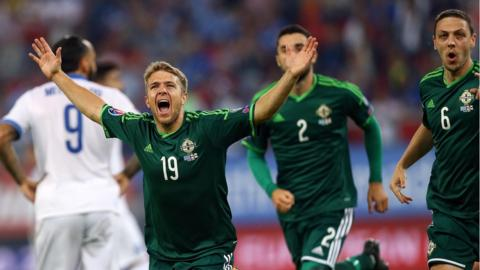 Jamie Ward scored in Northern Ireland's 2-0 win over Greece in Athens